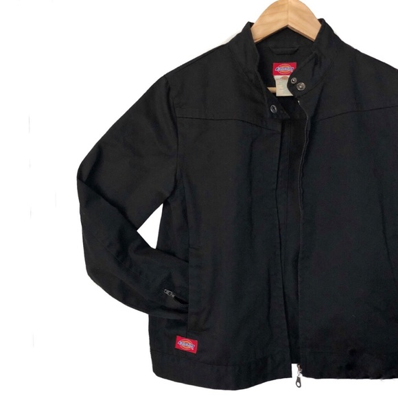 classic website for discount fashionablestyle Dickies Black Moto Zip Up Jacket